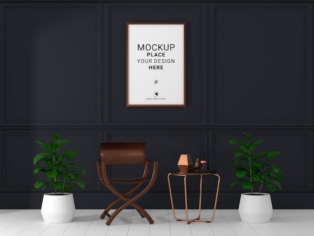 Maqueta de marco de fotos vacío para maqueta en la sala de estar