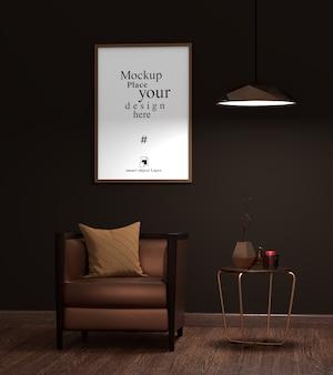 Maqueta marco de fotos vacío en la sala de estar
