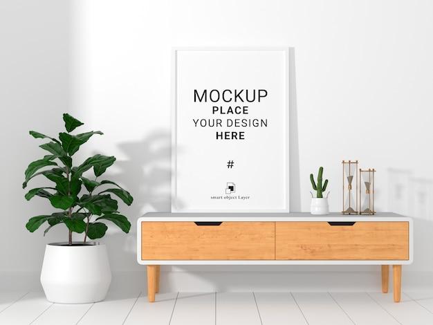 Maqueta de marco de fotos vacío en la sala de estar