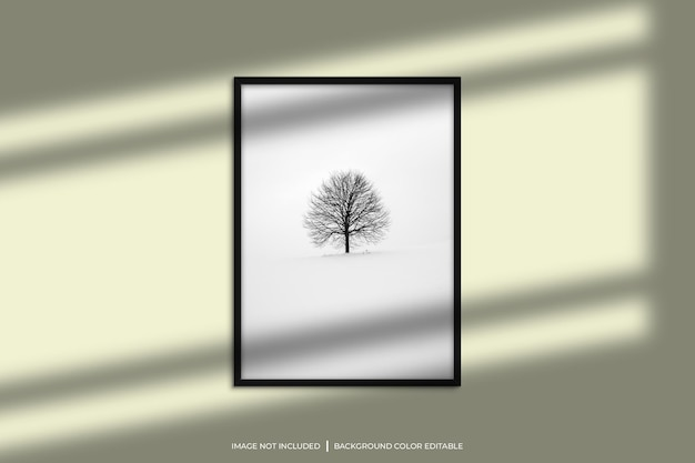 Maqueta de marco de fotos vertical negro con superposición de sombras y fondo de color pastel
