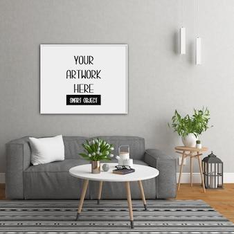 Maqueta de marco, habitación con marco horizontal blanco, interior escandinavo