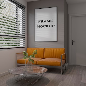 Maqueta de marco de habitación moderna interior