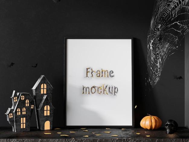 Maqueta de marco de halloween pumkins premium psd