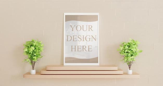 Maqueta de marco horizontal blanco de pie sobre el escritorio de madera con plantas decorativas