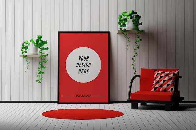 Maqueta con marco de imagen a4 de pie en una habitación con silla y flores