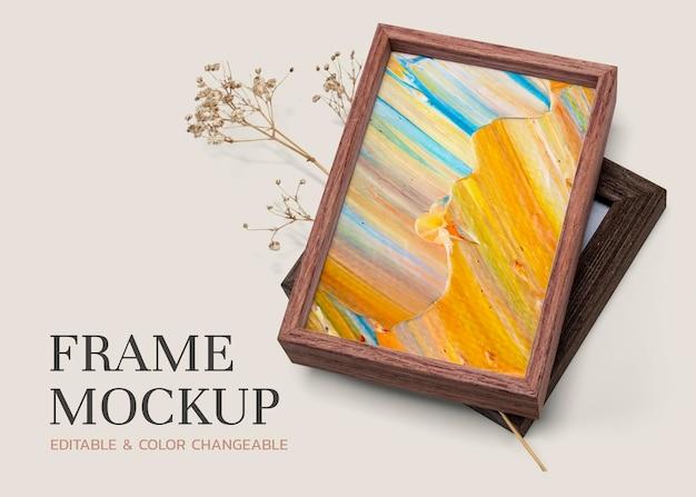 Maqueta de marco de imagen de madera psd con pintura colorida