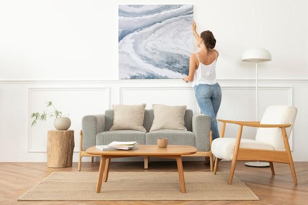 Maqueta de marco de imagen mínima con diseño escandinavo