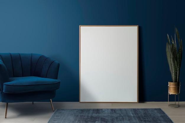 Maqueta de marco de imagen psd apoyado en el interior de la decoración del hogar de la sala de estar retro