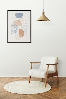 Maqueta de marco de imagen psd con diseño escandinavo