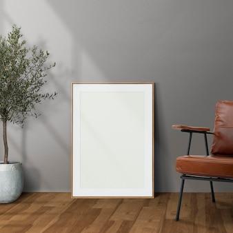Maqueta de marco de imagen psd inclinado en el interior de la decoración del hogar de la sala de estar moderna