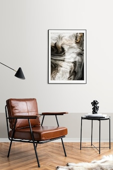 Maqueta de marco de imagen psd junto a una mesa de café de lectura en una sala de estar