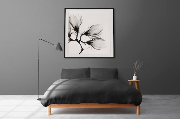 Maqueta de marco de imagen psd que cuelga en el interior de la decoración del hogar de un dormitorio mínimo