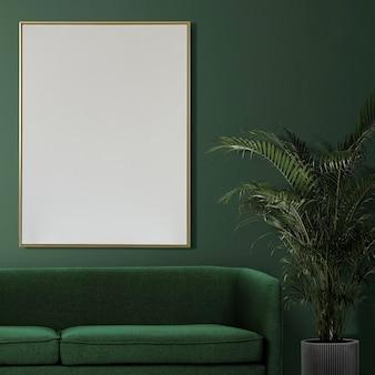 Maqueta de marco de imagen psd que cuelga en el interior de la decoración del hogar de la sala de estar moderna