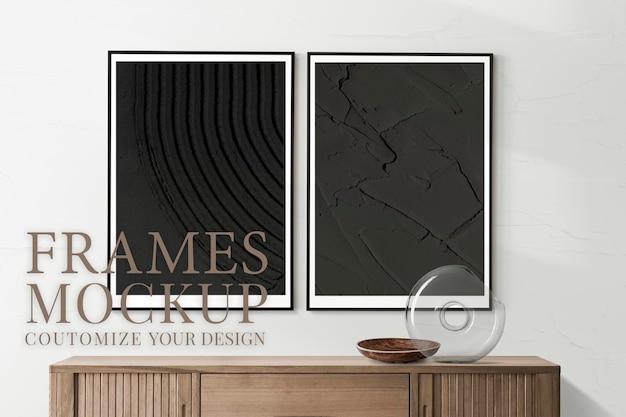 Maqueta de marco de imagen vintage psd en la pared con hermoso flujo