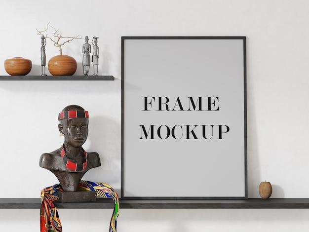 Maqueta de marco en interior afrocéntrico
