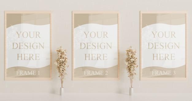 Maqueta de marco de madera en la pared con plantas decorativas