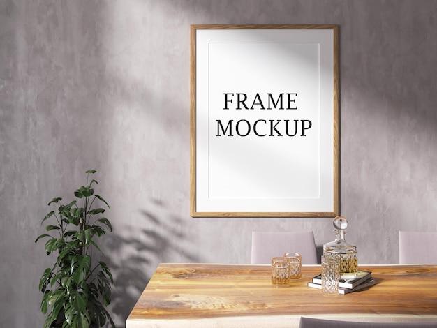 Maqueta de marco de madera en la pared