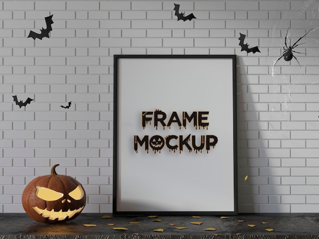 Maqueta de marco de mesa de halloween premium psd