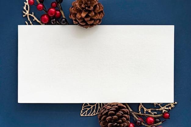 Maqueta de marco de navidad en blanco festivo