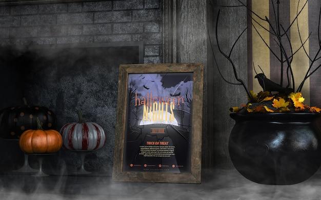 Maqueta de marco de noches de halloween con caldero negro