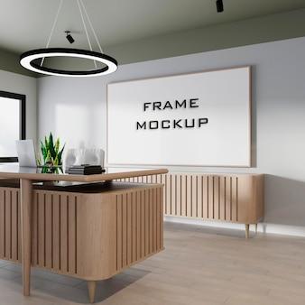 Maqueta de marco de oficina moderna interior premium psd