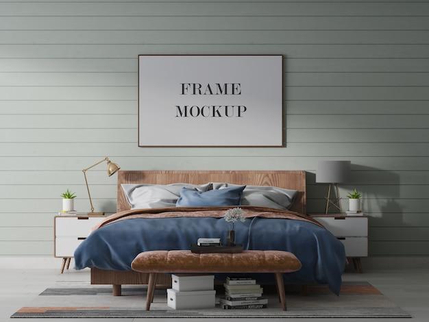 Maqueta de marco de paisaje con cama y lámpara.