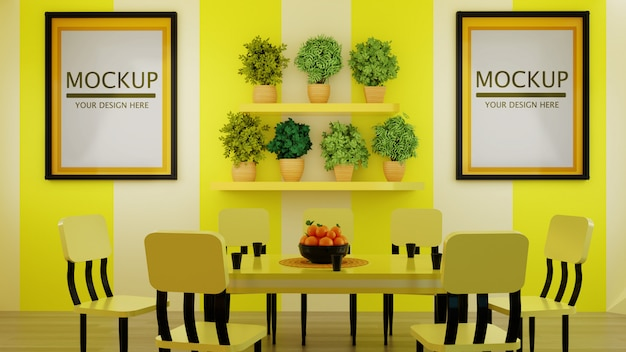 Maqueta de marco de pareja en la moderna pared del comedor amarillo con plantas en el estante de la pared