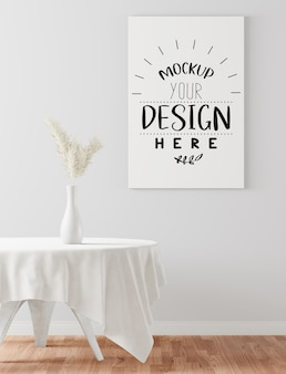 Maqueta de marco de póster en comedor