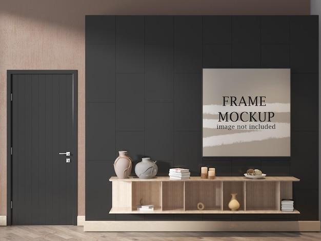Maqueta de marco de póster cuadrado en interior moderno