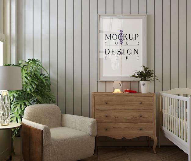 Maqueta de marco de póster en el dormitorio moderno del bebé