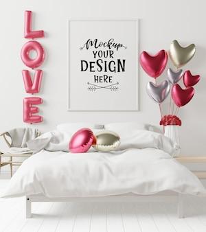 Maqueta de marco de póster en un dormitorio