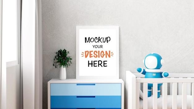 Maqueta de marco de póster con droide astronauta para un diseño de renderizado de interiores 3d de baby shower