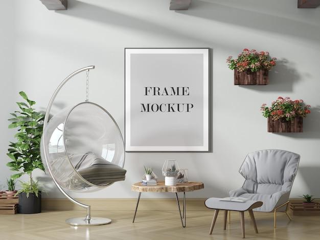 Maqueta de marco de póster grande en interior luminoso