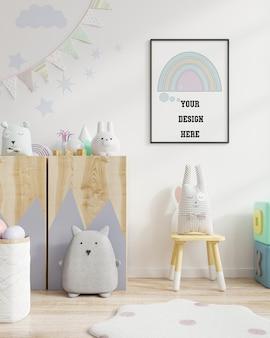 Maqueta de marco de póster en la habitación de los niños. representación 3d