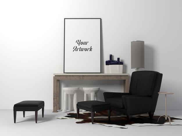 Maqueta de marco de póster en la habitación