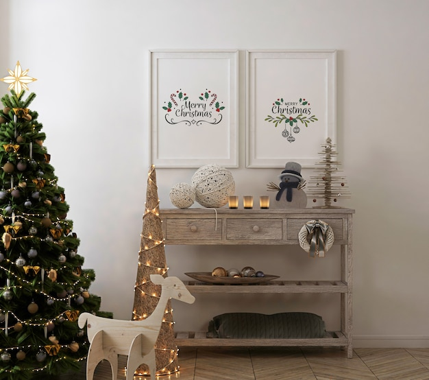 Maqueta de marco de póster en interior vintage con árbol de navidad y decoración