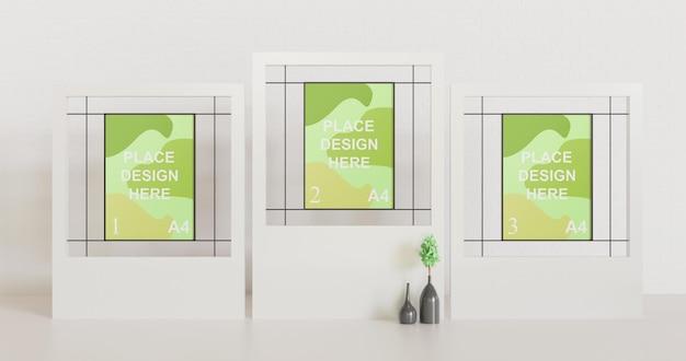 Maqueta de marco de póster múltiple minimalista en borde blanco