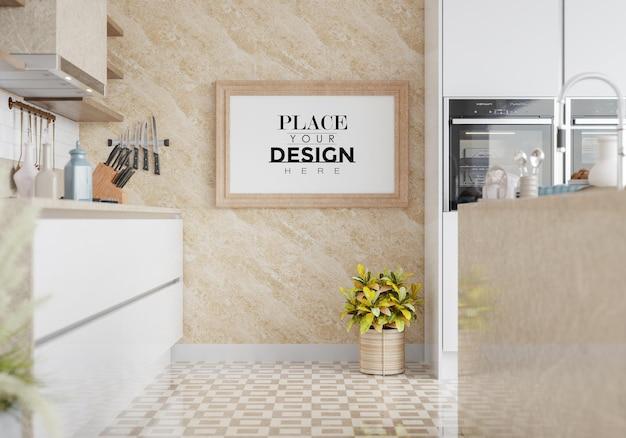 Maqueta de marco de póster en sala de cocina