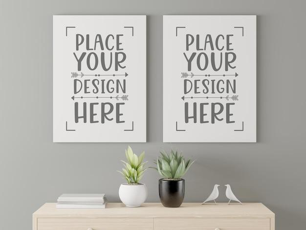 Maqueta de marco de póster en sala de estar