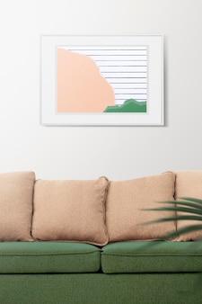 Maqueta de marco psd con collage de papel pastel