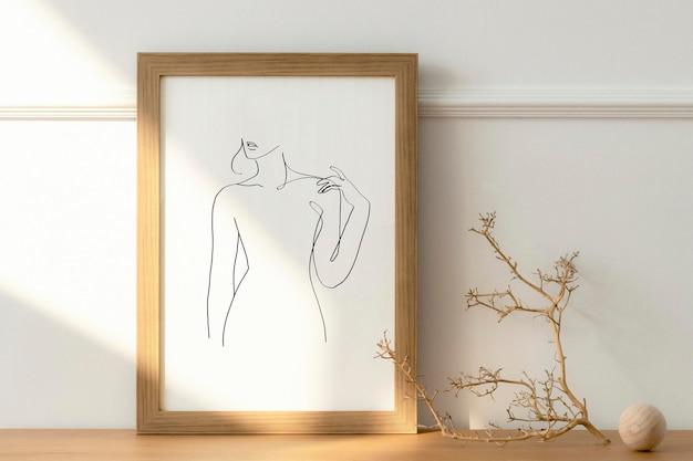Maqueta de marco psd con gráfico de arte de línea de mujer estética mínima