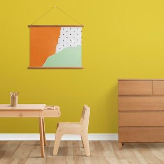 Maqueta de marco psd con papel rasgado en la sala de estar