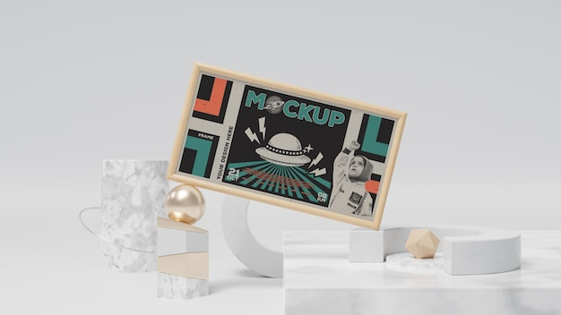 Maqueta de marco retro abstracto