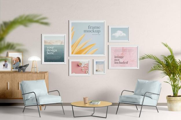Maqueta de marco en la sala de estar ps