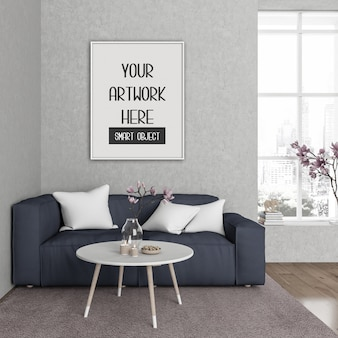Maqueta de marco, sala con marco vertical blanco, interior escandinavo