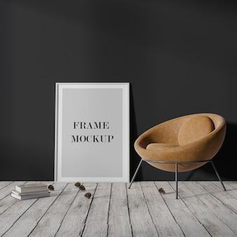 Maqueta de marco vacío blanco delgado apoyado contra una pared oscura