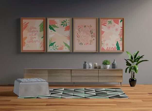 Maqueta de marcos colgando en la sala de estar