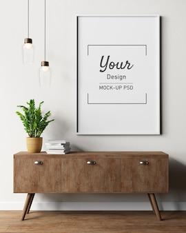 Maqueta de marcos de cuadros en la pared en el interior de la sala de estar