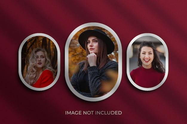 Maqueta de marcos de fotos redondos premium psd