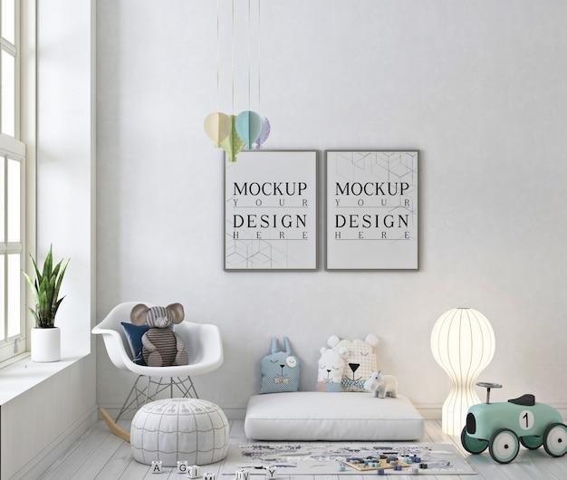 Maqueta de marcos de fotos en la sala de juegos blanca con mecedora y juguetes
